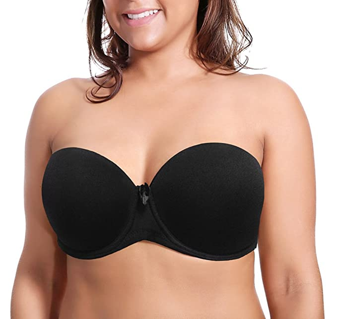 c3d7b4649d Image Unavailable. Image not available for. Color  YANDW Womens Multiway  Strapless Push up Underwire Plus Size Padded Invisible Wedding Bra
