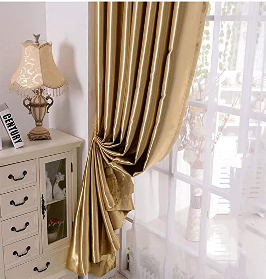 MYRU 1 Pair Semi-Blackout Gold Curtains for Living Room Bedroom Solid Golden Curtains for Windows 2 x 52×84 Inch