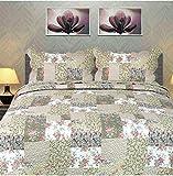Tache Flora's Outing Floral Print Patchwork Reversible 3 Piece Bedspread Quilt Set, Full