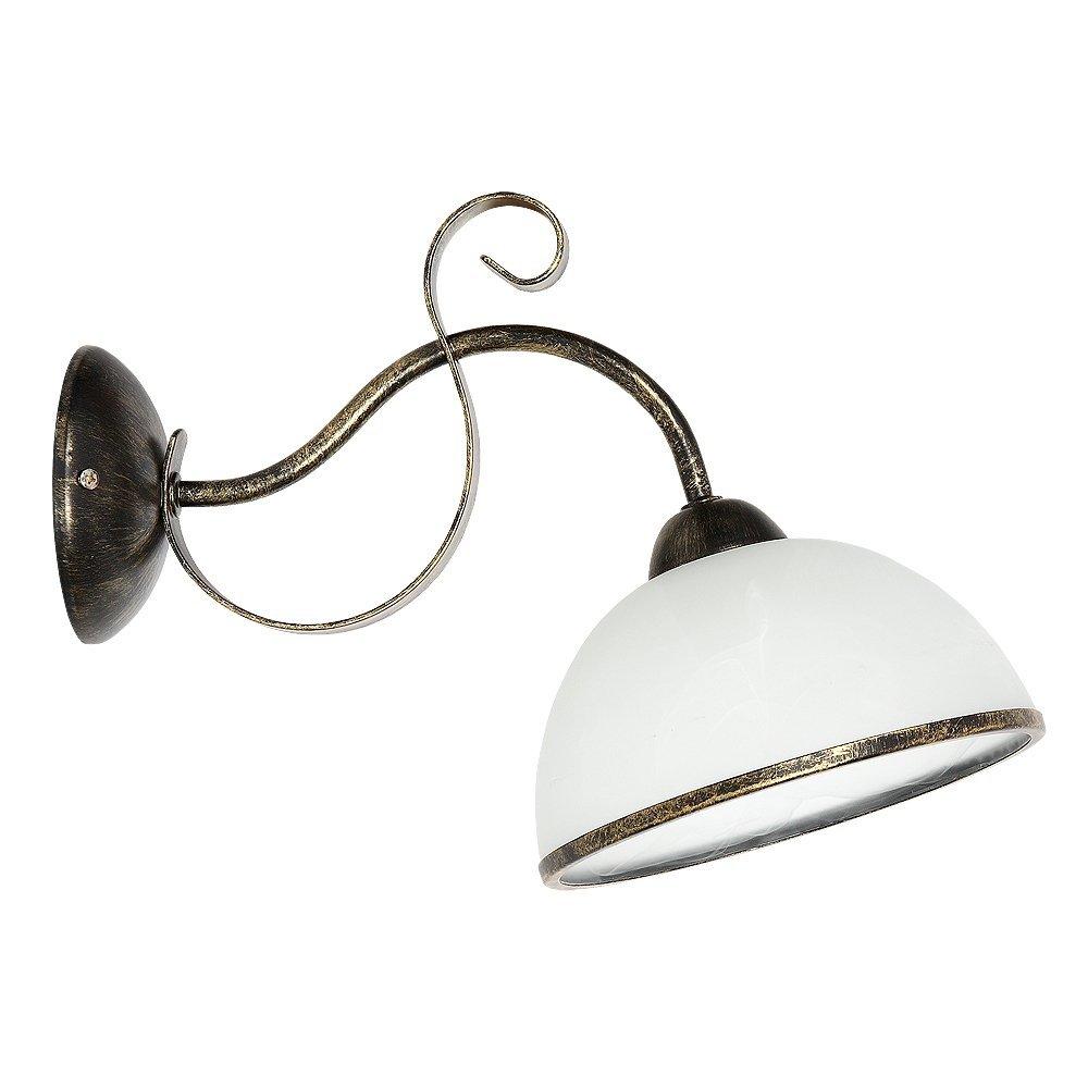 Formschöne Wandleuchte in Messing Patina Weiß 1x E27 bis zu 60 Watt 230V aus Glas & Metall Schlafzimmer Flur Wohnzimmer Esszimmer Lampen Leuchte Wandlampe