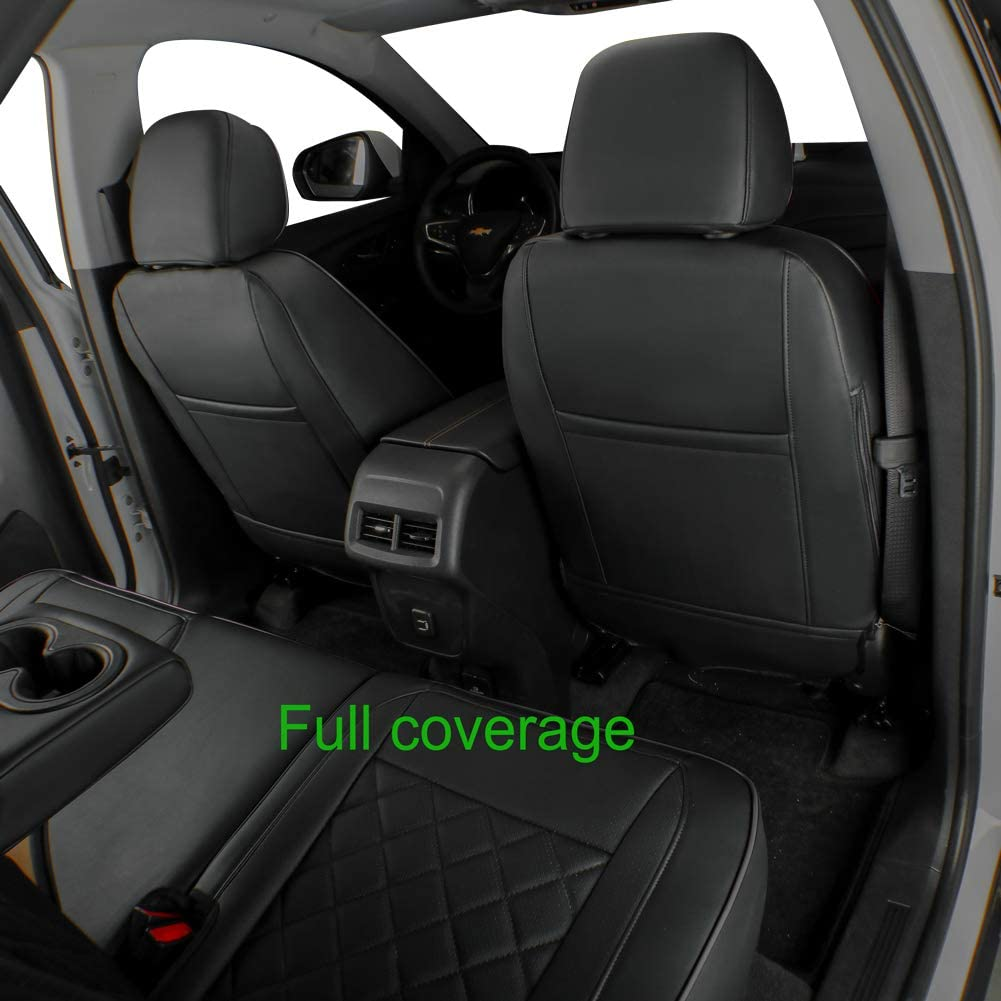 Black//Gray Leatherette EKR Custom Fit Full Set Car Seat Covers for Select Chevy Equinox 2020 2021