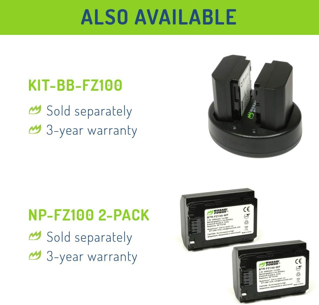 a7 III a7R IV a9 II a6600 a7R III BC-QZ1 and Sony a9 a7 IV Wasabi Power Battery Charger for Sony NP-FZ100