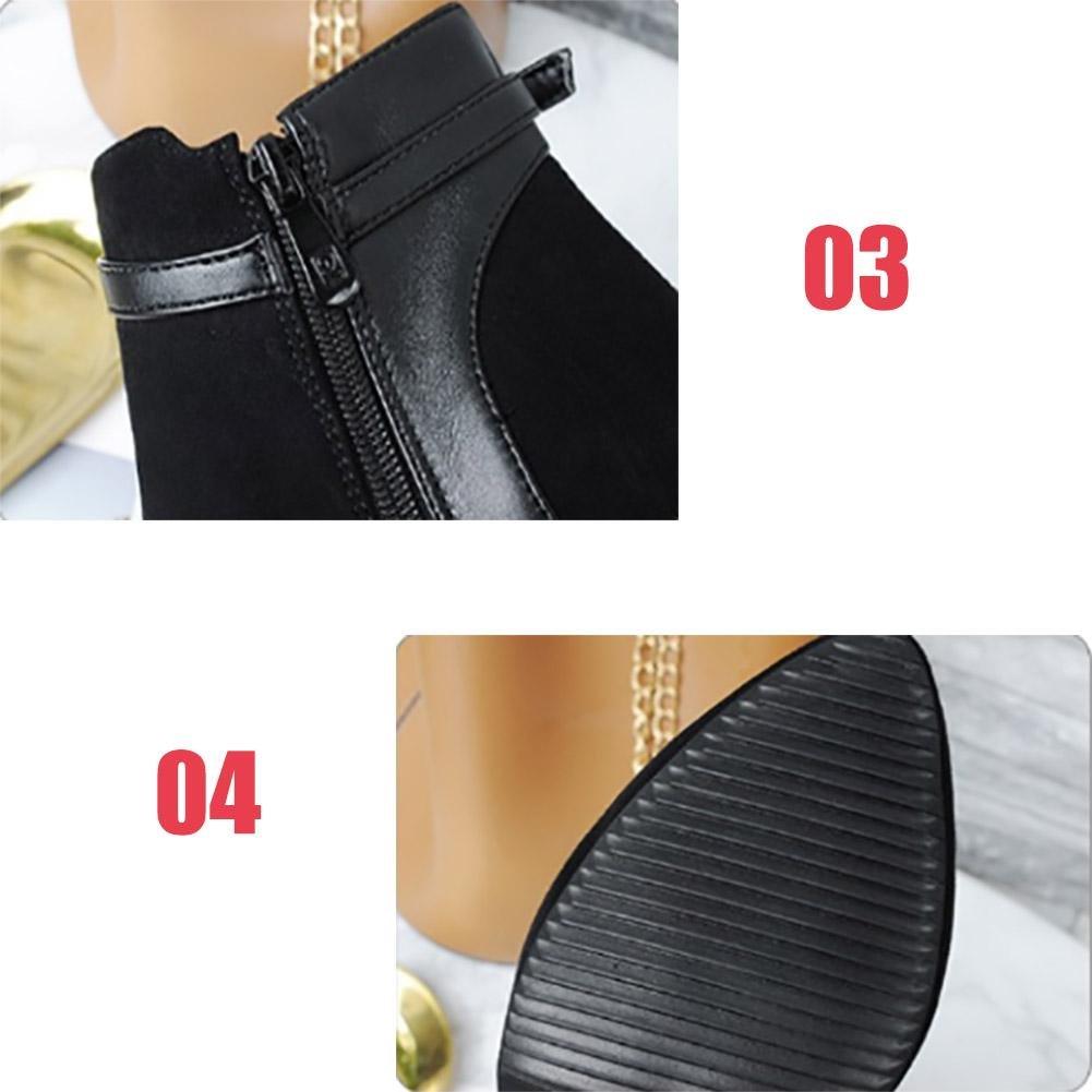 Damenschuhe Weibliche Stiefel Herbst Winter Spitz Spitz Spitz Schrubben Niedrige Röhre Seitlicher Reißverschluss Hochhackige Kurze Stiefel Farbe buchstabieren Mit der Seite Erhöhen Warm halten Ritterstiefel 983dc6