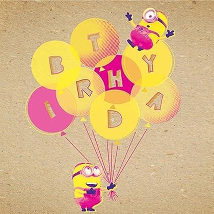 Minions cumpleaños Globos en blanco Tarjeta de felicitación ...