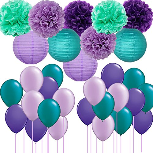 Mermaid Party Decorations/Frozen Party 30pcs Teal Lavender Purple Pom Pom Tissue Flowers Paper Lanterns with Party Balloons Kit for Under the Sea Party Baby Shower Birthday Party Decorations