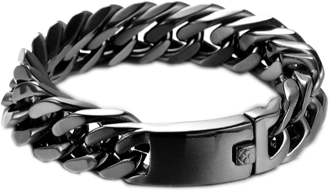 Mens biker stainless steel chain bracelet mens bold steampunk thick chain cuff chunky chain cuff bracelet curb link silver steel bracelet