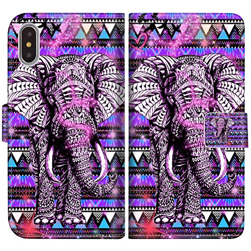 Sakuulo Flip Wallet Case for iPhone Xs Purple Mandala Elephant PU Leather Case with Multi Credit Card Holders ID Slot Pockets Folio Magnetic Closure Cover for Apple iPhone Xs
