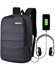 Travel Laptop Backpack Anti Theft, Slim, Waterproof, Fits 15.6 Inch Laptop, with USB Charging Port - Business College School Office Computer Bag for Women & Men, Secure and Durable - Black