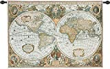 Old World Map Tapestry Wall Hanging 50 Inches By 35 Inches-SkuV