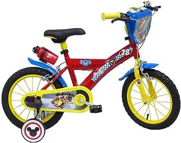 Mickey - Bicicleta Racer de 14 Pulgadas con Escudo, Botella y ...