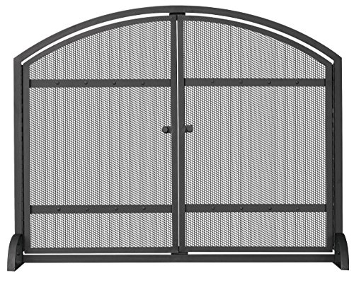 Arch Fireplace Doors - UniFlame Single Panel Black Screen with Doors and Rivets