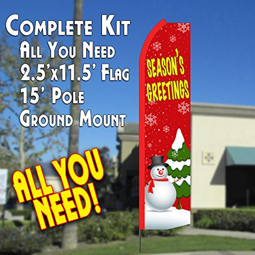 Season's Greetings (Red/Snowman) Flutter Feather Banner Flag Kit (Flag, Pole, & Ground (Seasons Greetings Snowman)
