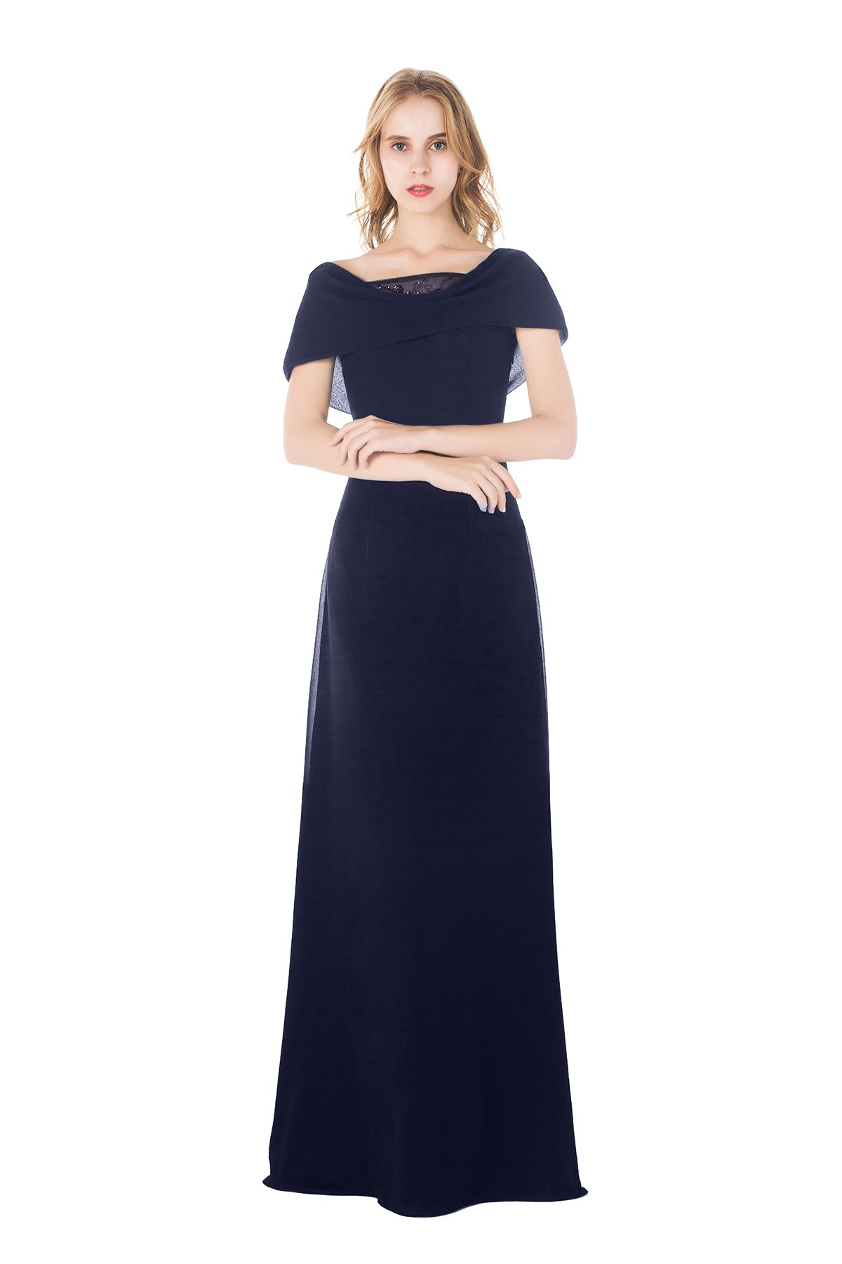 AISLE STYLE Elegant Shoulder Wrap Long A Line Chiffon Evening Dress