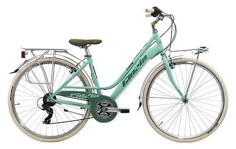 Cicli Cinzia Bicicletta 28 Citybike Nuvola Donna 21v Revo Shift V Brake Alluminio Verde Pastello Opa