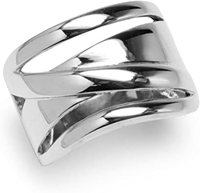 Free Gift Packaging Sterling Silver Smooth Concave Wide Band Ring
