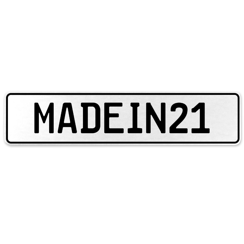Vintage Parts 555509 MADEIN21 White Stamped Aluminum European License Plate