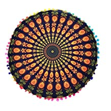 Indian Mandala Floor Pillows Cakaco Round Bohemian Cushion Cushions Pillows Cover Case (gold)