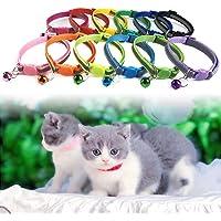 Lifet Katzenhalsband, Katzenhalsbänder mit Glocke, reflektierend, Schnallenverschluss, verstellbar 20–30 cm, geeignet für die meisten Hauskatzen, 12er-Pack