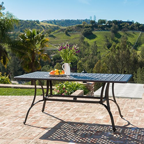 Christopher Knight Home 300275 Fonzo Cast Aluminum Outdoor Rectangular Dining Table | in Bronze (Umbrella Deck Costco)