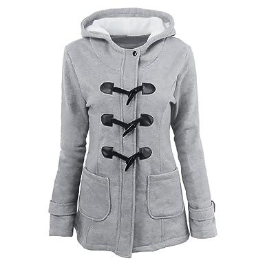 Damen Mantel Dufflecoat Winter Mit Kapuze Lange Ärmel Horn Jungen Hipster  Button Mit Taschen Elegant Vintage 69279fe043