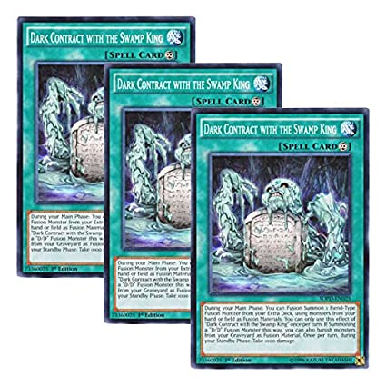 SDPD-EN025-1st EDITION DARK CONTRACT WITH THE SWAMP KING 3 X YU-GI-OH CARD