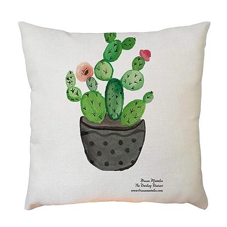 Sencillo Vida Fundas De Cojin con Diseño de Cactus Impreso Almohada Caso Decoración del Hogar para Dormitorio Salón Oficina Cama Sofá o Coche (45 x 45 ...