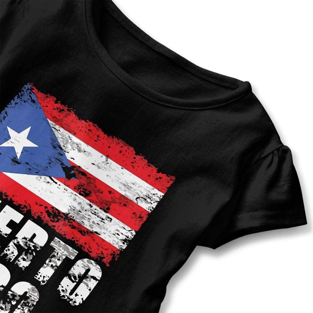 Cheng Jian Bo Distressed Puerto Rican Flag Toddler Girls T Shirt Kids Cotton Short Sleeve Ruffle Tee