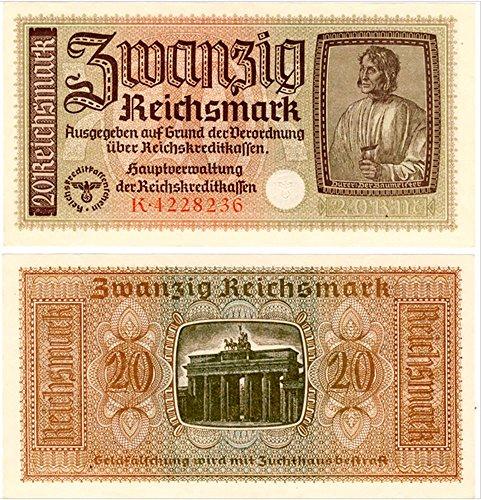 1941 THE SUPREME WW2 NAZI BANKNOTE! THE MASTER BUILDER, BRANDENBURG GATE, 2 SWATIKAS! RARE SO CRISP!E 29 RIECHSMARKS Seller Gem Crisp AU-CU