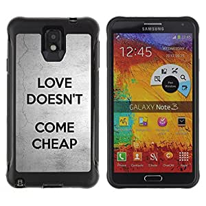 BullDog Case@ Love Doesn'T Come Cheap Text Grey Black Rugged Hybrid Armor Slim Protection Case Cover Shell For Note 3 Case ,N9000 Leather Case ,Leather for Note 3 ,Case for Note 3 ,Note 3 case