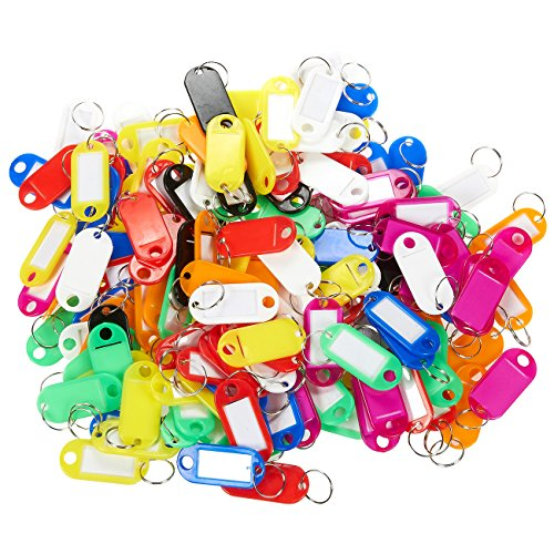 150 Piece Set - Plastic Tags / Plastic Name Tags - Small Size Multi-Colored ID Tag Set for Luggage, Keys, Pets, - 2.5 x 1.8 (Personalized Keychains Bulk)