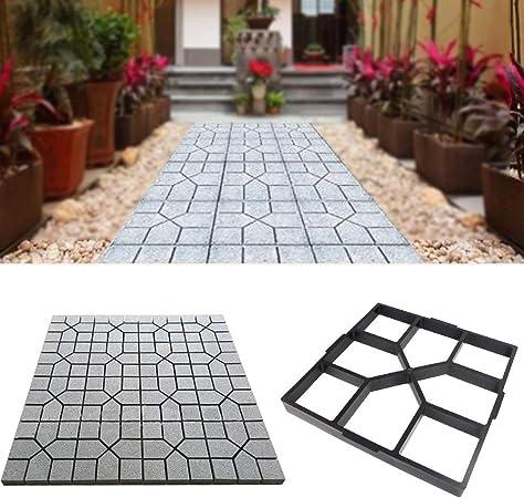 MEYLEE Path Maker plástico Caminar hormigón Molde jardín DIY césped pavimentación, Negro,Square: Amazon.es: Hogar
