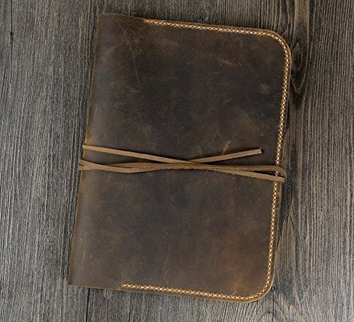 Personalized Vintage Distressed genuine real leather iPad Air / Air 2 case cover sleeve / iPad organizer case / ipad air 2 folder – IDAX005S