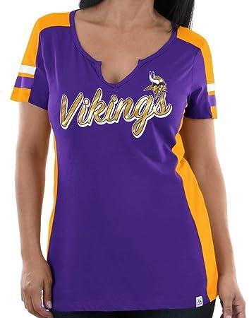 e9ac5f73 Majestic Minnesota Vikings Womens Pride Playing V-Neck Tee