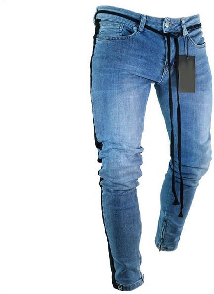 Mxssi Cerniera da Uomo Piccoli Piedi Jeans Aderenti da Uomo Buco Rotto Lato Blu Striscia Bianca//Pantaloni A Strisce Nere con Tasche pi/ù Taglie