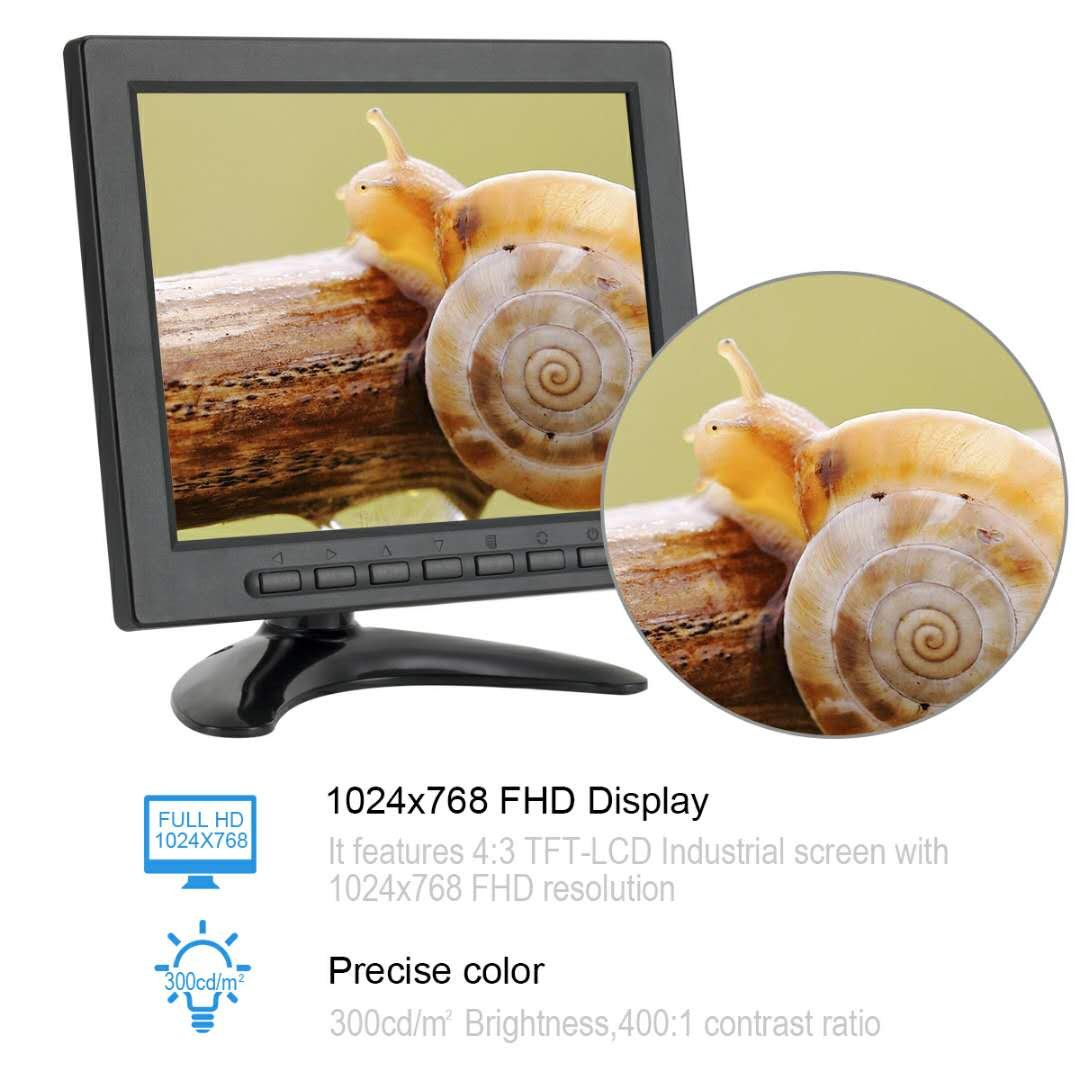 LSLYA 8 inch TFT LED Monitor 1024x768 Resolution Display Portable 4:3 IPS HD Color Video Screen Support USB AV BNC HDMI VGA BNC Input for PC CCTV Raspberry Pi (8'' LED 1024x768 160°) by LSLYA (Image #3)