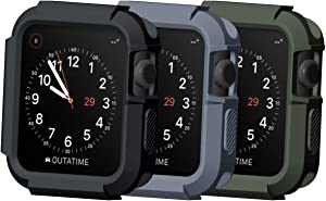 DFU Compatible with Apple Watch SE/6/5/4 Bumper case Fall Protection Durable Military Grade Protective TPU Flexible Shock Proof Resist (Black+Grey+Green, 42MM/44MM)