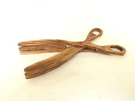 Wood&Design Pinza Tijeras para Ensalada, Pan, Verduras de Madera de Olivo Italiano- madeinitaly