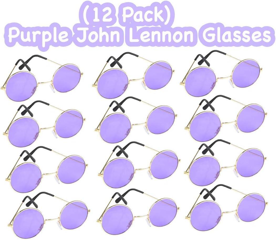 12 unidades Purple John Lennon Hippie anteojos de sol – Viste tu traje retro o disfraz con estos anteojos – ideal como un regalo novedoso, premio o recuerdo de fiesta – 60