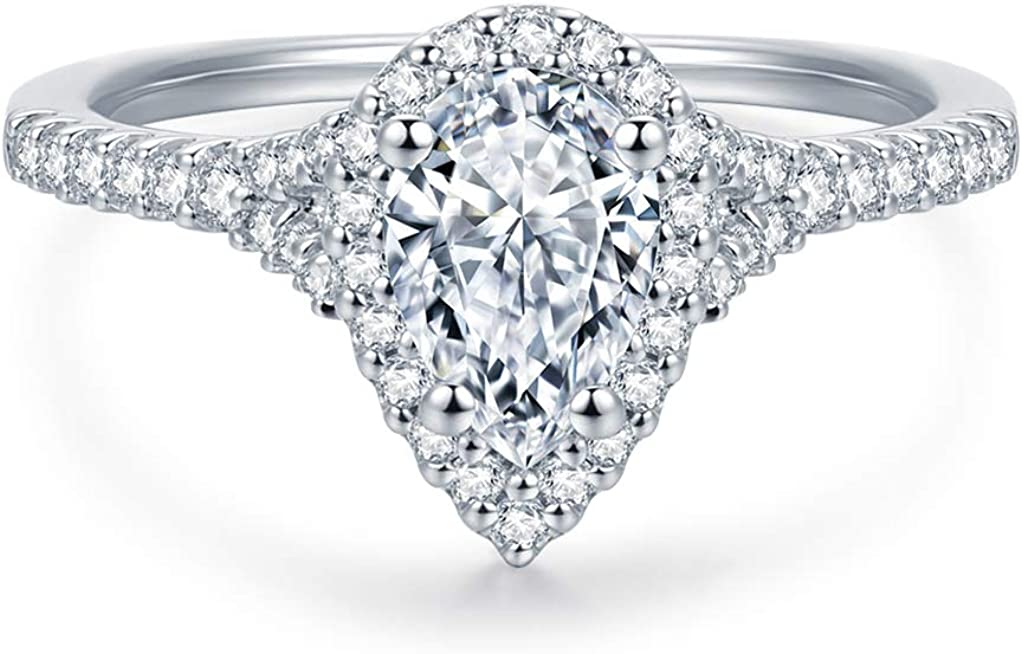 shipfree HAFEEZ CENTER Pear Cut Petite Simulated half Halo Micropave Floating