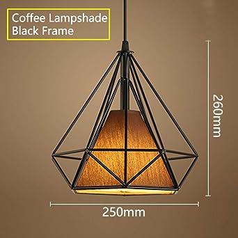 Lámpara colgante negra moderna jaula de hierro lámpara minimalista ...