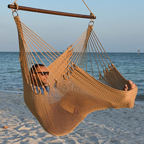 Jumbo Caribbean Hammock Chair with Footrest - 55 inch - Soft-Spun Polyester - Tan ()