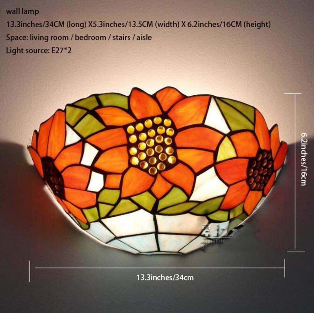 BJClight Classic Tiffany Style Wall Lamp Sconces Stained Glass Shade Wall Lighting for Living Room Bedroom Bathroom Mirror Headlights Aisle Cafe Bar Light E27 110-240V B-H A
