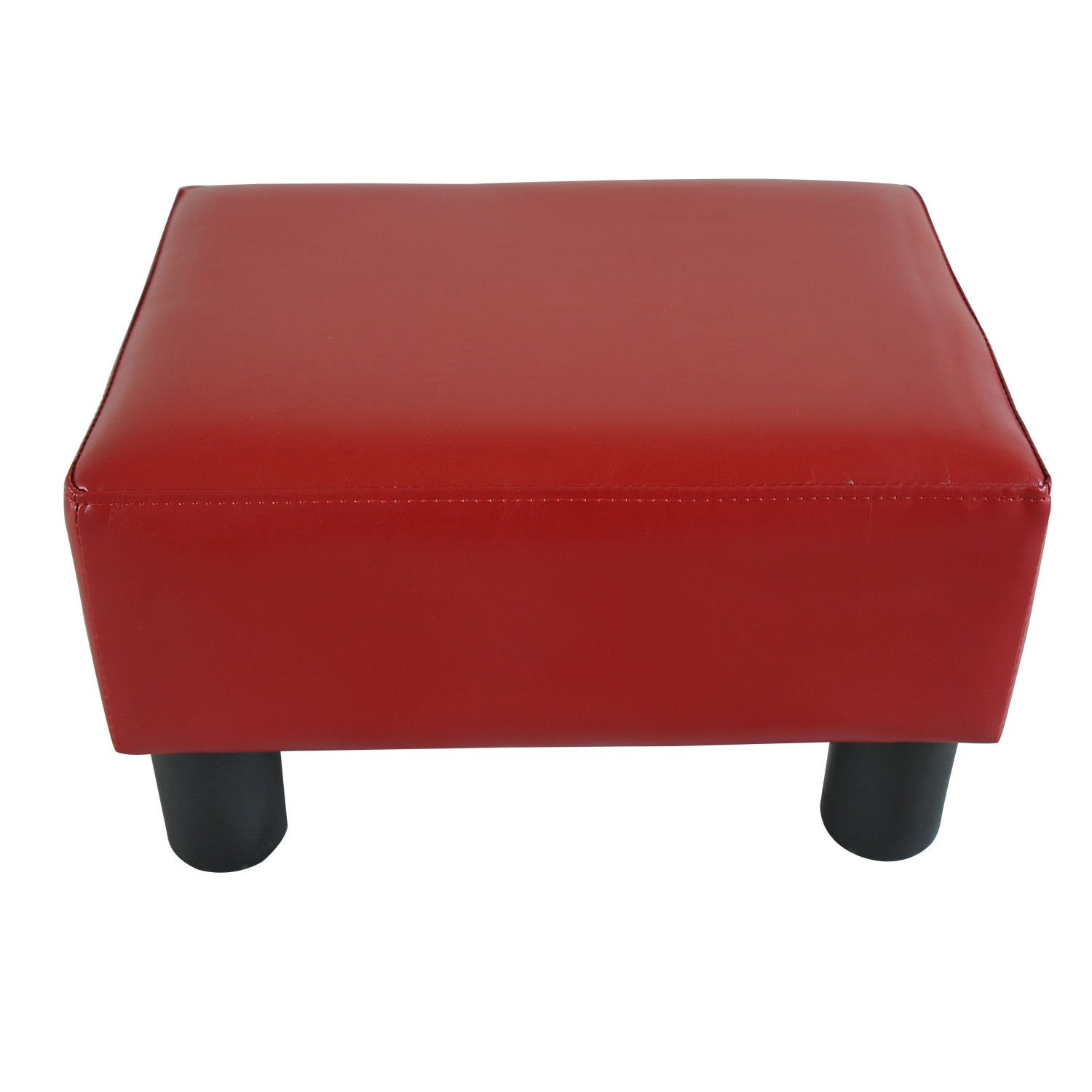 HOMCOM Modern Small Faux Leather Ottoman Footrest Sofa Side Stool Rectangle (Red) Aosom Canada