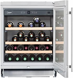 Liebherr WU4500 24 Inch Built-In Single Zone Wine Cooler with 46 Bottle Capacity, Right Hinge, Glass Door, With Lock in Stainless Steel