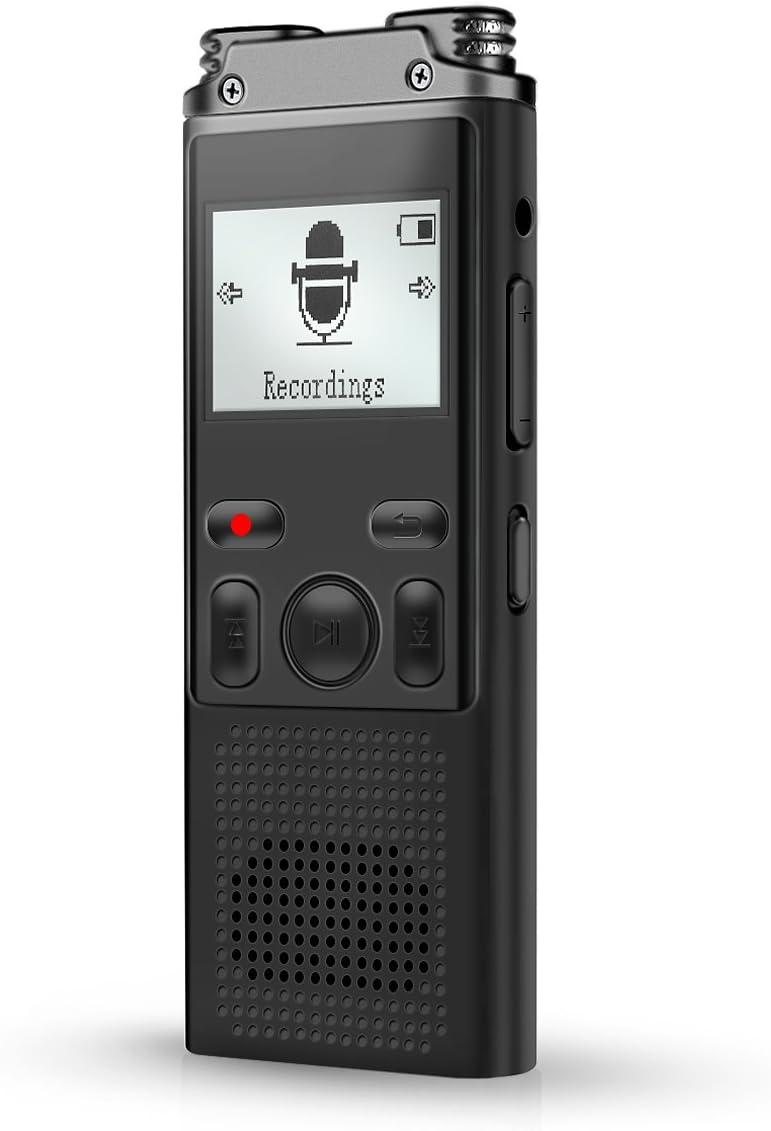 VOKSUN Grabadora de Voz Digital Portátil, 8GB 1536Kbps 64G TF Card Pantalla OLED, HD Grabador de Sonido con MP3 & Baterías Recargables USB, Micrófono de reducción de ruido doble, Activada por Voz.