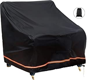 """ZTTXL Patio Chair Covers, Large Waterproof Outdoor Sofa Cover 35"""" W x 38"""" D x 31"""" H, 600D Heavy Duty with 1 Air Vents for All Weather, Patio Furniture Covers (Large, Black)"""