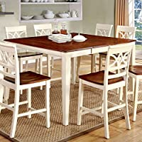 247SHOPATHOME IDF-3552WC-PT-9PC Dining-Room, 9-piece Set, Antique White and Cherry