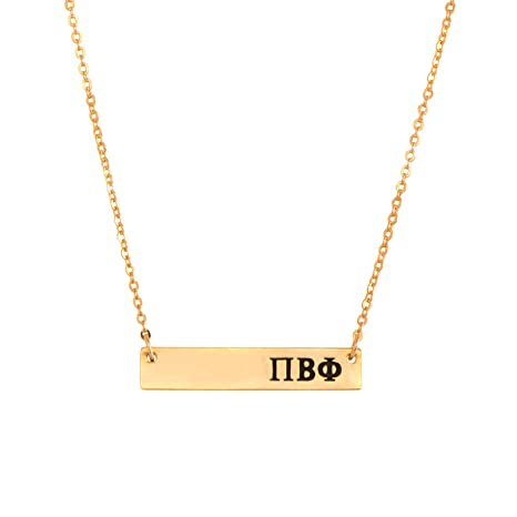 pi beta phi 24k gold plated horizontal bar necklace greek sorority letter with adjustable chain pi