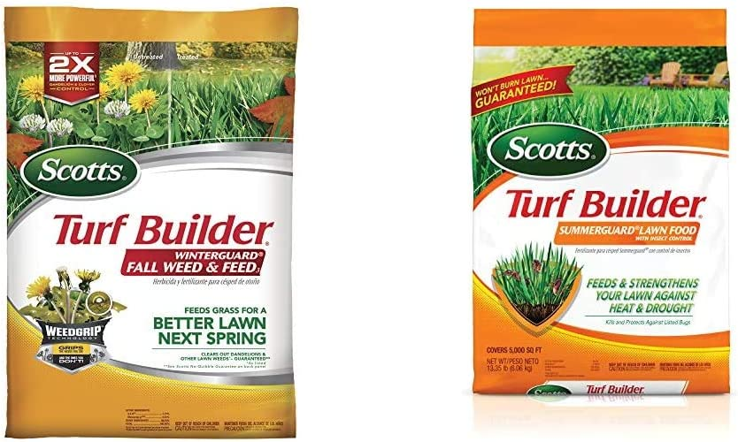 Scotts Turf Builder WinterGuard Fall Weed & Feed 3, 5,000 sq. ft. & Turf Builder SummerGuard Lawn Food with Insect Control, 5,000 sq. ft.