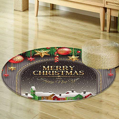 Small Round Rug Carpet Christmas Decorations Classic Rustic Design Season Greetings Golden Christmas Letters Village Ornaments Multi Door mat Indoors Bathroom Mats Non Slip R-35 -
